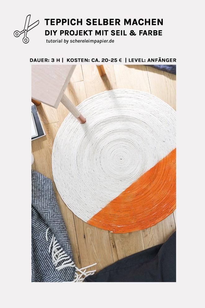 Seil Teppich selber machen schereleimpapier DIY Blog kreative Tutorials für DIY Geschenke, DIY Möbel und DIY Deko zum Basteln