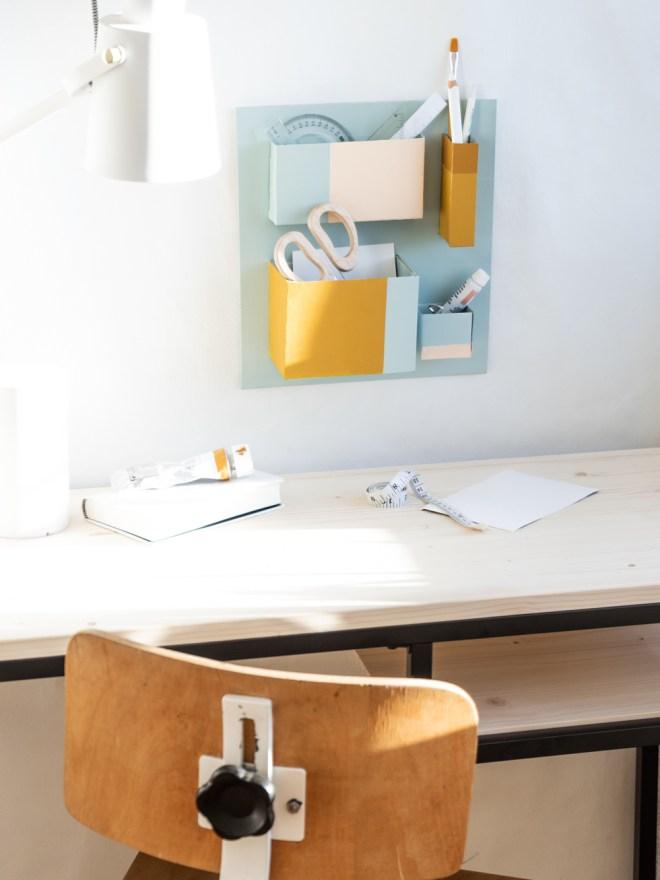 DIY Upcycling Idee mit Pappe Utensilo basteln - schereleimpapier DIY Blog kreative Tutorials für DIY Geschenke, DIY Möbel und DIY Deko zum Basteln