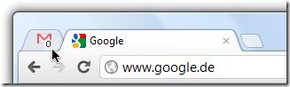 Google Chrome-Browser: Angehefteter Tab mit Google Mail-Symbol