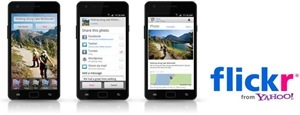 3 Ansichten der Flickr-Android-App auf einem Smartphone-Bildschirm