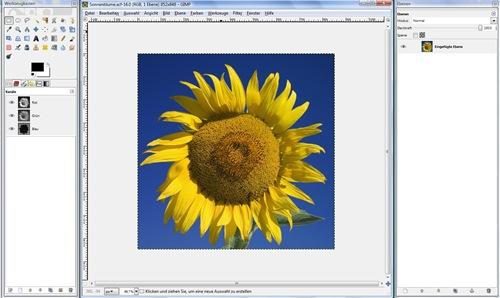 Dreigeteilte GIMP-Arbeitsoberfläche