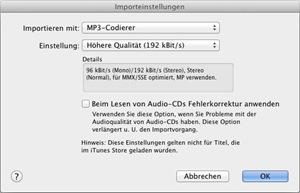 iTunes Dialogfeld Importeinstellungen. Importieren mit: MP3-Codierer, Einstellung: Höhere Qualität (192 kBit/s)