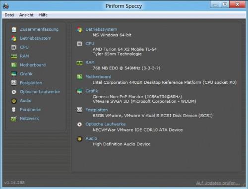 Speccy: Auslesen und Zusammenfassen von System-Eigenschaften