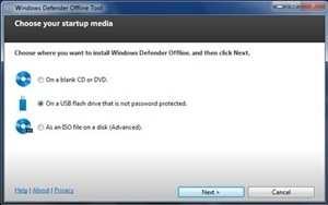 Windows Defender Offline Tool: Choose your startup media