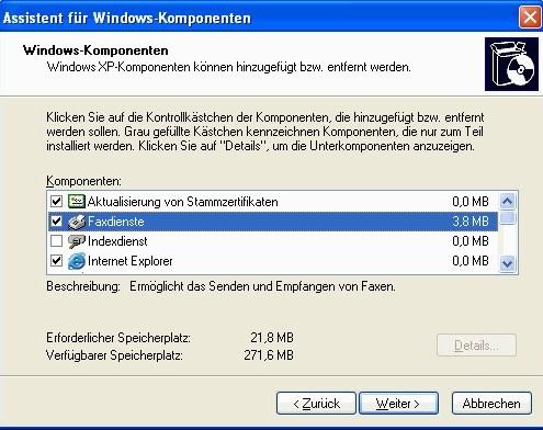Windows XP: Komponenten hinzufügen/entfernen