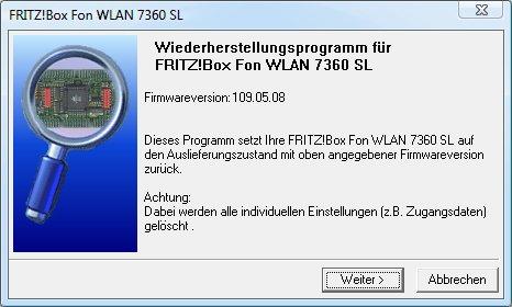 FritzBox-Wiederherstellungsprogramm