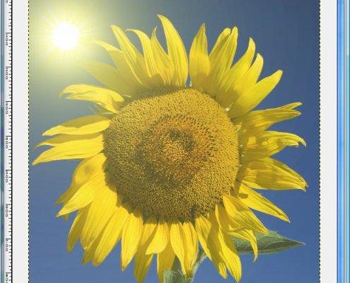 GIMP: Beispiel für eingefügte Sonnenstrahlen
