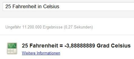 Einheiten umrechnen mit Google