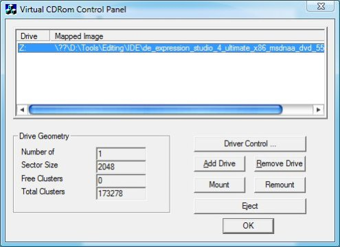 MS Virtual CD-Rom Control Panel