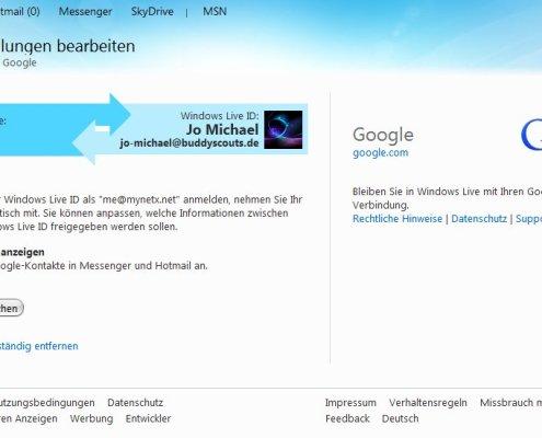 Google-Konto mit Windows Live verknüpfen