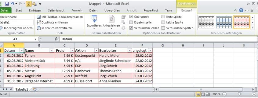 Excel: Zeilen abwechselnd einfärben