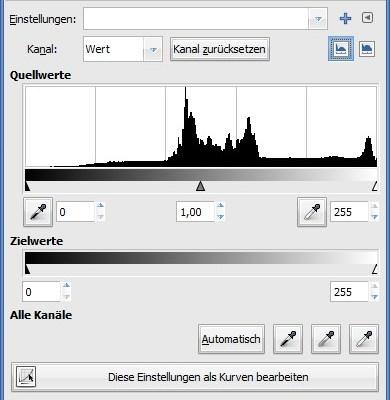 GIMP: Farbwerte als Histogramm