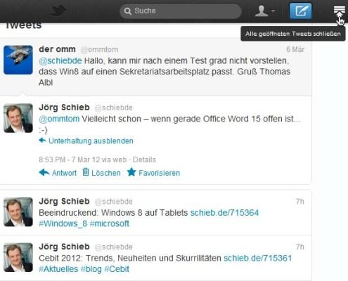 Twitter-Website: Alle Tweets auf einmal schließen