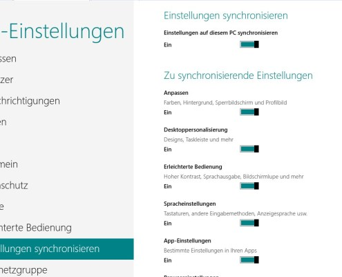 Windows 8: Einstellungen synchronisieren