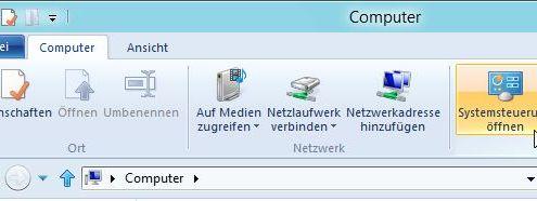 Systemsteuerung im Menüband des Windows-Explorer