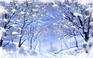 Gezeichnete winterliche Allee mit schneedürren Bäumen links und rechts in hellblau und violett