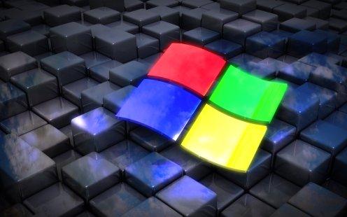 Windows-Fahne auf Würfeln