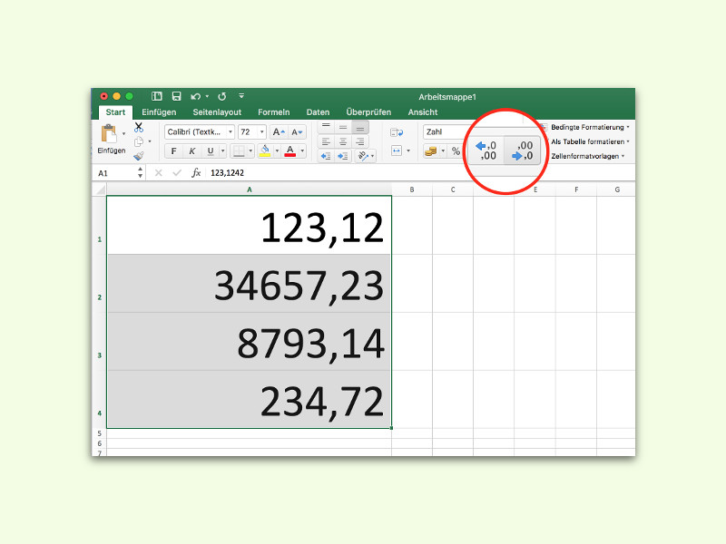 Alle Zahlen in einer Excel-Spalte oder Zeile runden | schieb.de