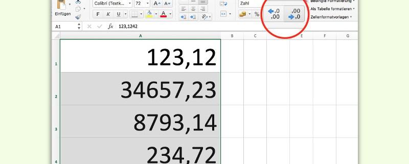 Alle Zahlen in einer Excel-Spalte oder Zeile runden - schieb de