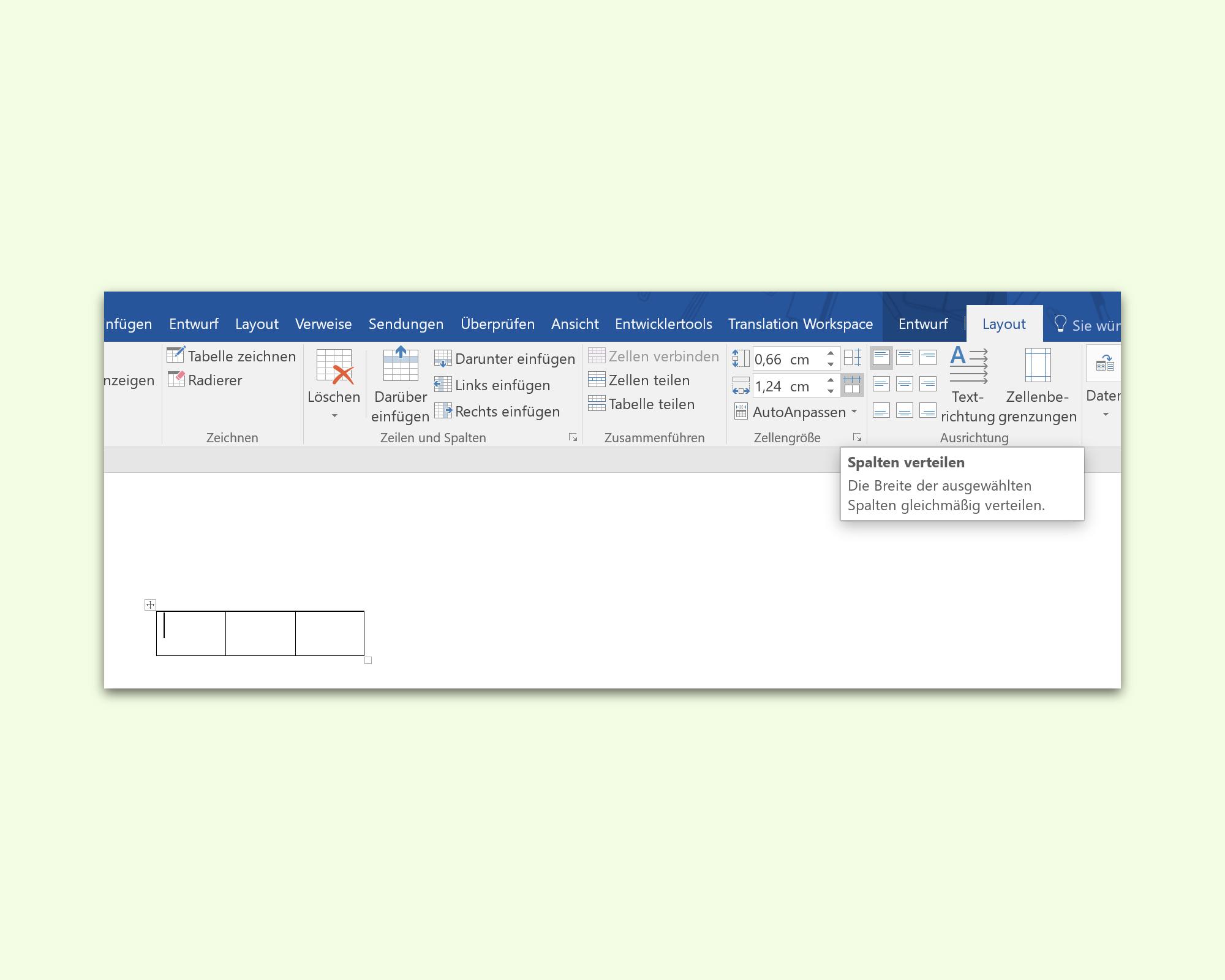 Word: Spalten einer Tabelle gleichmäßig verteilen | schieb.de