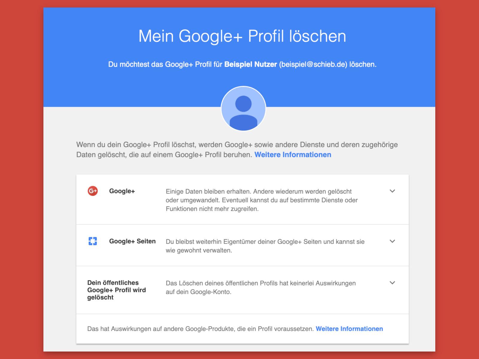 profil löschen