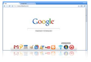 Il Cloud OS. In evidenza la Icond Dock dentro la finestra del browser.