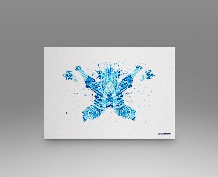 Light blue rorschach test print