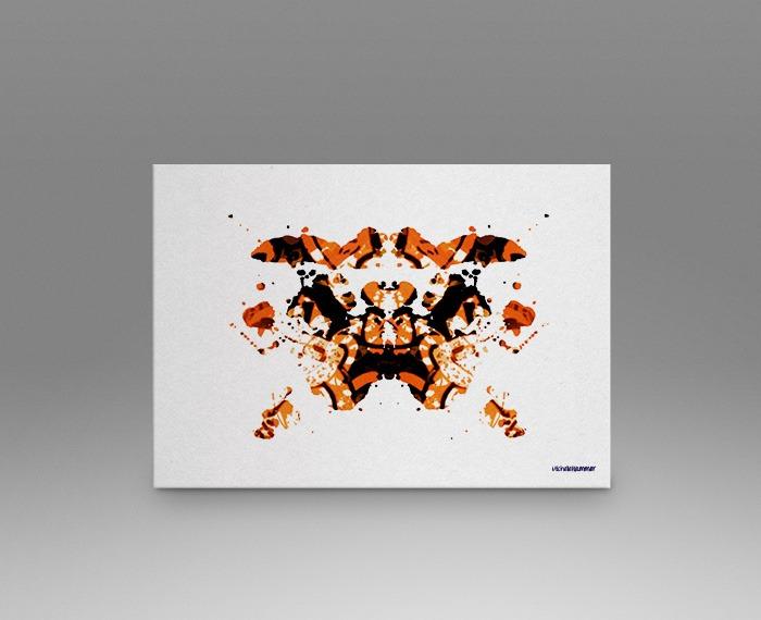 Orange rorschach test print