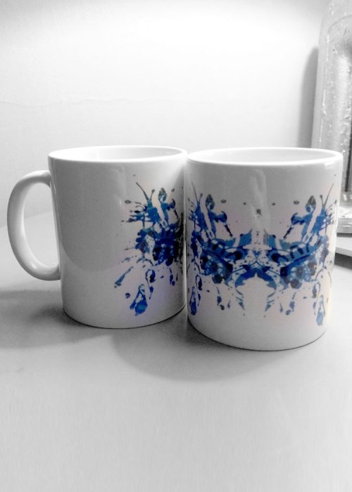 Blue rorschach test ink blot mugs 9