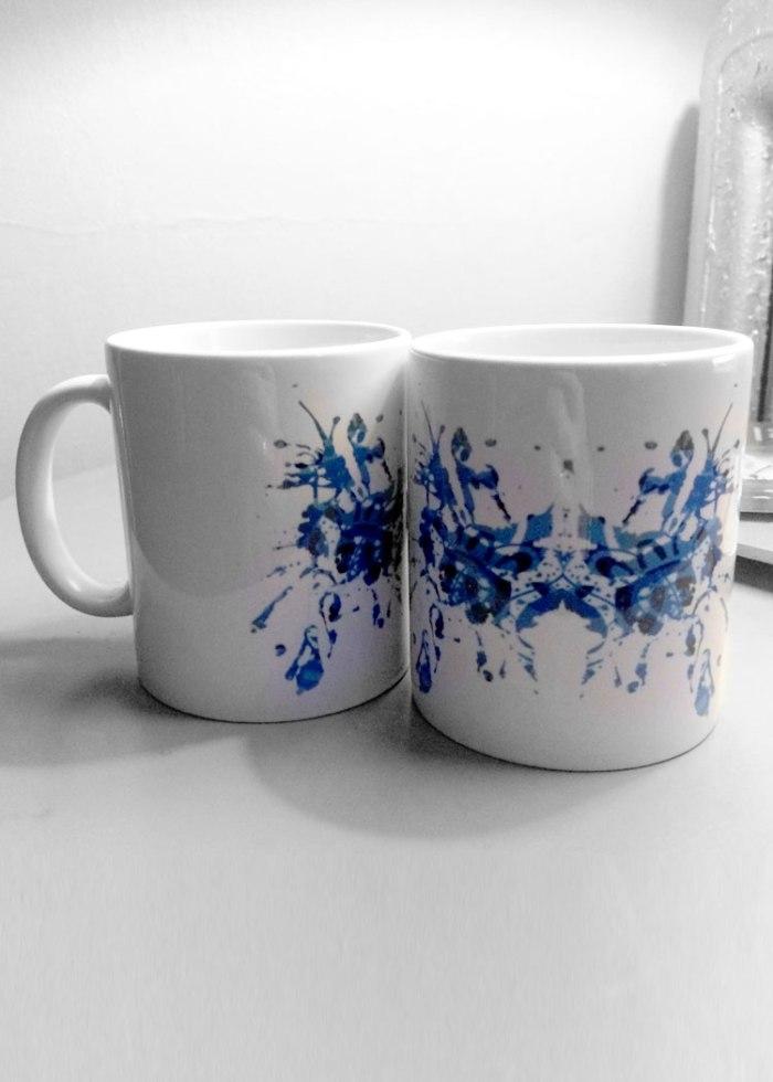 Blue Rorschach Test Ink Blot Mugs 1