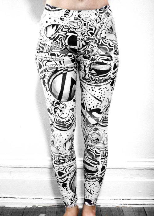 "Michelle's ""bleach"" black & white print leggings"