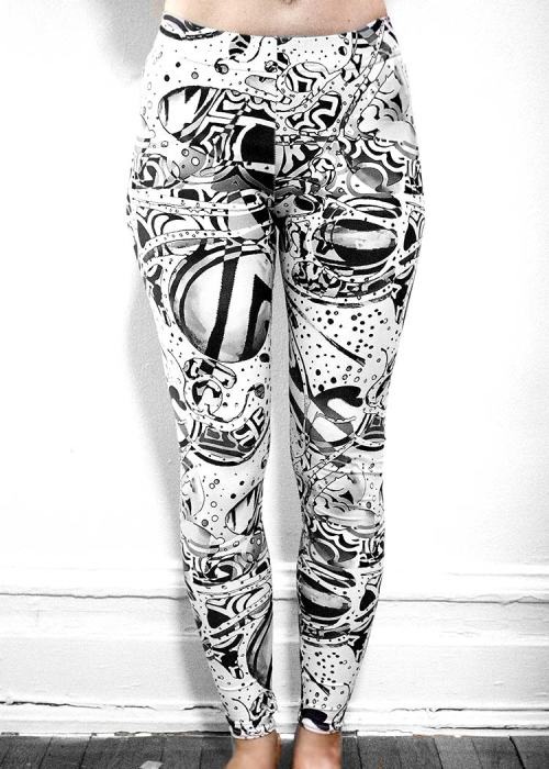 "Michelle's ""Bleach"" Black & White Print Leggings 13"