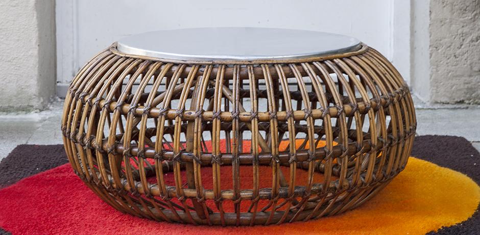 ico parisi rattan ottoman coffee table