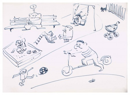Skizze von Helge Schneider zur Aktion