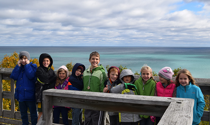 homeschool students atop the tower