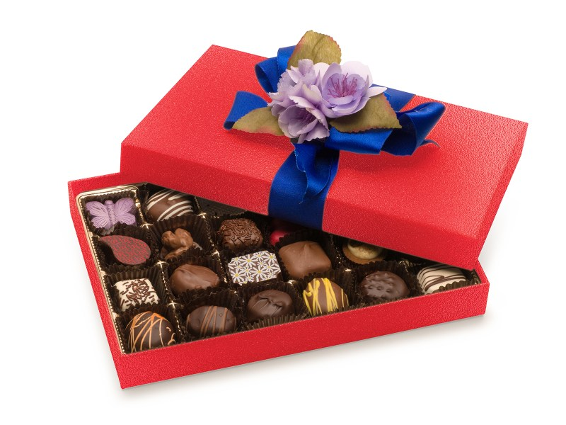 24 piece Luxury Gift Box in Red with blue bow and lavender floral bow