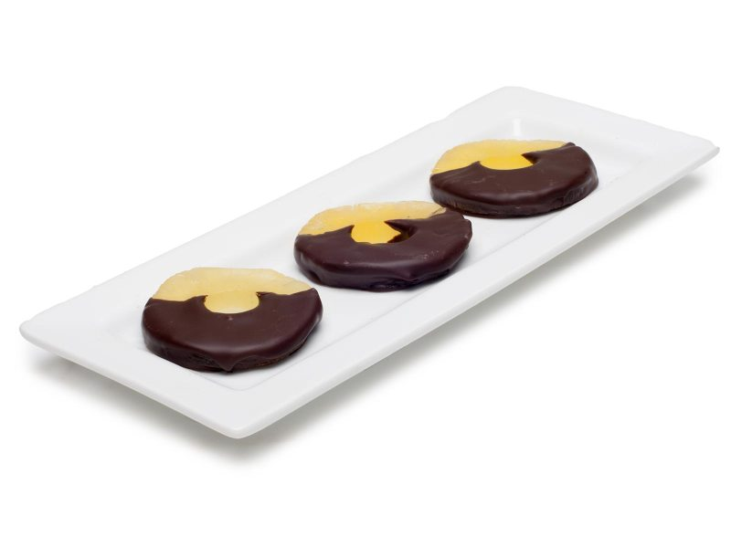 chocolate dipped pineapple slices