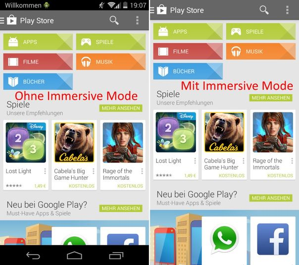 Android 4.4, Immersive Mode