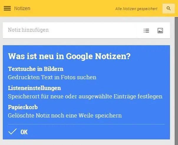 Google Notizen, Google