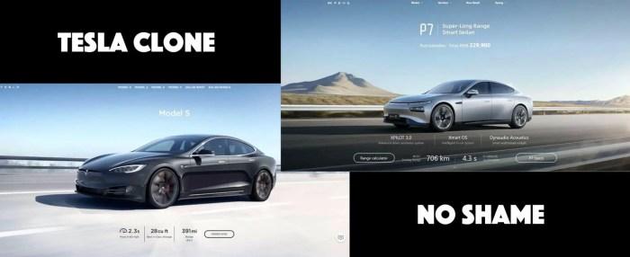 Tesla-Klon Xpeng kopiert Webseite