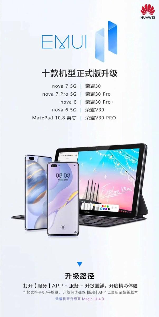 EMUI 11 für 9 weitere Huawei- & Honor-Geräte