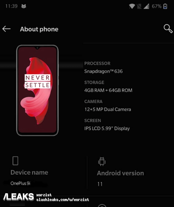 OnePlus 9i About phone Leak