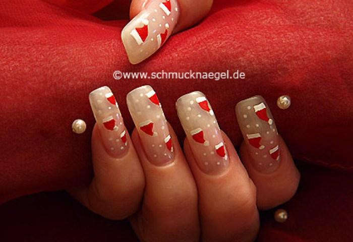 Sombrero De Santa Claus En Uñas Decoradas Diseños De Uñas