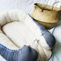 Baby-Cocoon Frottee beige / Waffelpique mint