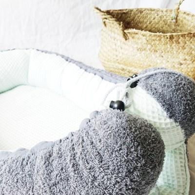 Baby-Cocoon Frottee dunkelgrau / Waffelpique mint