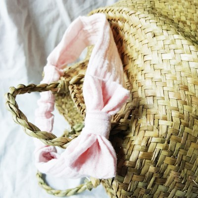 Turban / Haarband Musselin altrosa