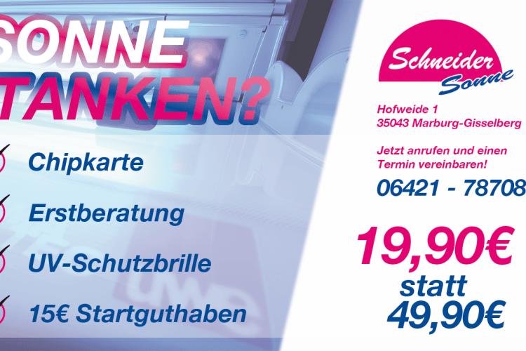 Neukunden Angebot 1. Quartal 2017 Sonnenstudio Schneider Gisselberg Marburg