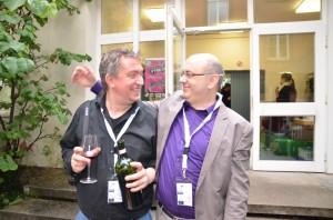 Sieger unter sich: Christoph (links, Kategorie Text) und Charlie (rechts, Projekte & Initiativen)
