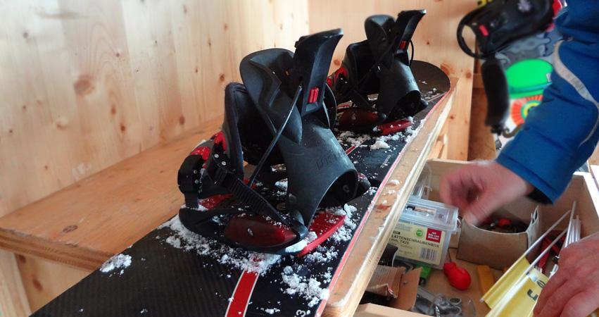 Mein Snowboard wird neu eingestellt