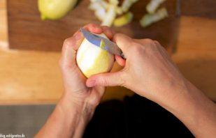 Zitrone dünn schälen